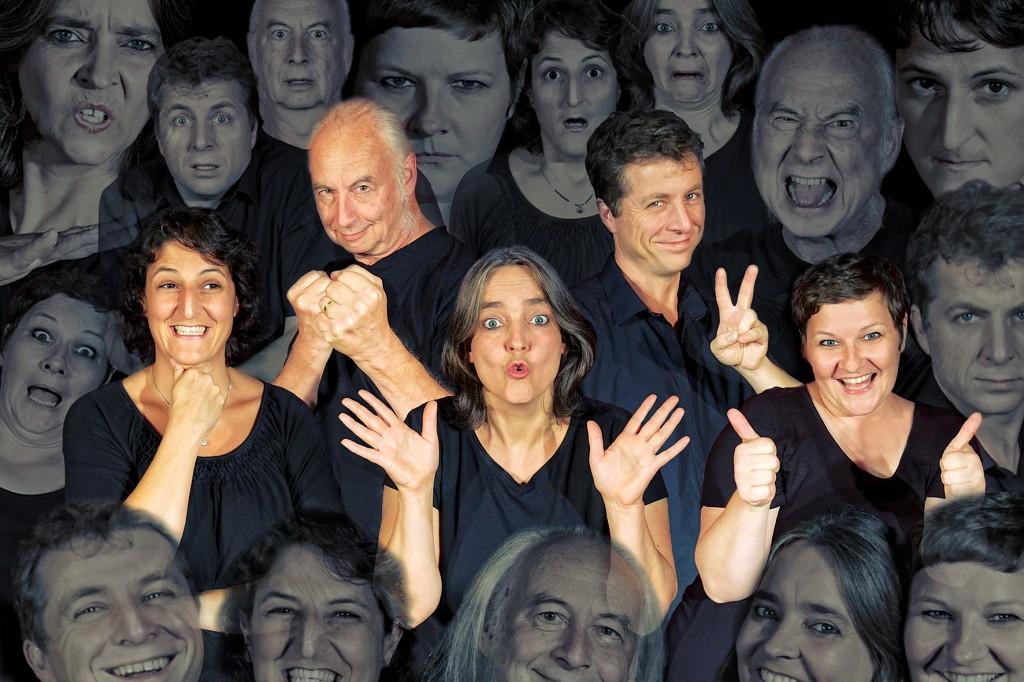 Theater lust Gesichter Gruppe.s-w